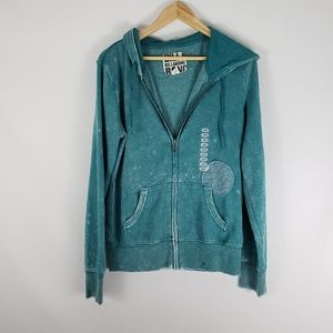 BILLABONG Soft Mottled Teal Zip Up Hoodie NWT